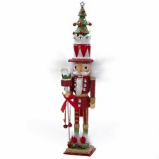 "2015 KURT ADLER 15"" WOOD RED/GREEN WITH TREE HAT NUTCRACKER, NIB"