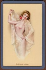 Playing Cards 1 Swap Card - Vintage ENN English Named THE LACE SHAWL Pin Up Girl