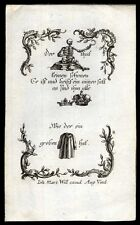 rebusbildchen MEMENTO MORI-VANITAS-TOTENTANZ 4 Kupferstich 18.Jh.
