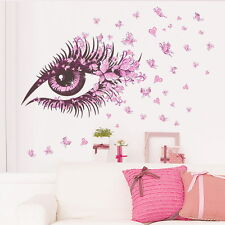 Beautful Pink Butterfly Eye Decal Removable Heart Wall Stickers Home Decor Art