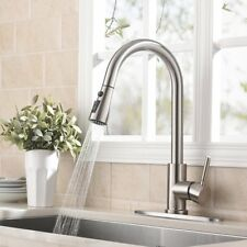 WEWE Brushed Nickel Swivel Kitchen Sink Faucet Pull Out Sprayer Mix Tap W/Plate