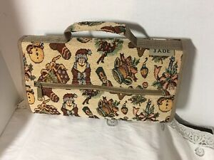 Jade Christmas Motif Tapestry Rolling Travel Bag Collapsible Expand Suitcase