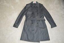 PRADA gris double boutonnage en peau de mouton ceinture long trench-coat Taille 52 Hommes XL