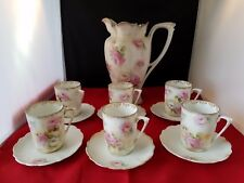 """RS PRUSSIA CHOCOLATE POT W/O LID 8.75""""  6 Demirasse cups & saucers Pink Roses"""