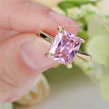 Cute Women's Pink Sapphire yellow 10k Gold Plated Wedding Ring Size 6