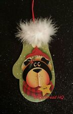 HP Bear wooly winter mittens wooden christmas  ornament hand painted, gifts tag