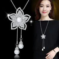 Damen Halskette Schmuck Collier Anhänger Silber lang Kette Mode Strass Luxus