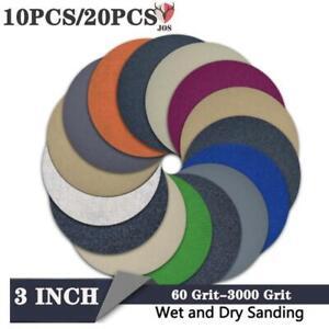 10/20PCS 60-3000Grit Polishing Pad Dry Water Sanding Disc Hook Loop Sandpaper