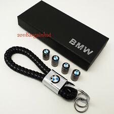BMW de Cuero y Metal Llavero Fob Cadena Estuche Y Tapas De Polvo Válvula de neumáticos Lote Paquete
