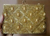 Clutch Purse Gold Bead & Sequin Made in Hong Kong Gorgeous Vintage   AK