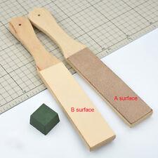 Dual Sided Leather Blade Strop Knife Razor Sharpener & Polishing Compounds Set