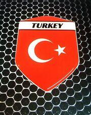 "Turkey Türkiye Proud Shield Flag Domed Decal Emblem Car Sticker 3D 2.3""x 3.3"""