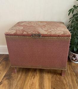 Vintage retro Lloyd Loom small Ottoman Seat original Pink Gold