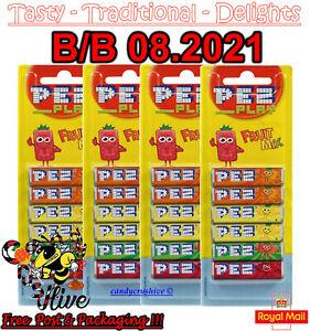 24 PACKS PEZ REFILS (4 X 6 PACKS) FRUIT FLAVOUR SWEETS FOR PEZ DISPENSER 08.2021