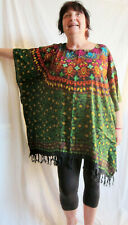 Ladies green red floral PRINT Kaftan Poncho Tunic beach large plus size new