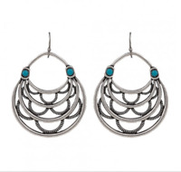 Montana Silversmith Layered Loop Earrings Turquoise Stone HSS Hook (ER2353TQR47)