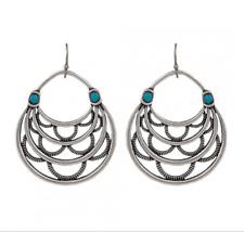 Montana Silversmith Layered Loop Earrings Turquoise Stone HSS Hook (ER2353TQR47)