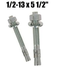 "(Qty 10) 1/2-13 x 5-1/2"" Concrete Wedge Anchor Zinc Plated"