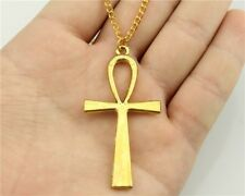 Gold Colored Ankh Cross Necklace Pendant - USA Seller