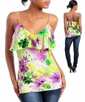 womens Blouse top floral print lovely ruffled bodice S M L