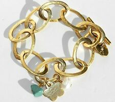 Gold 24K Plated Cut Out Links Bracelet With Turquoise Pearl Stone Flower Charms