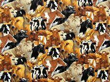 En el país de las vacas múltiples razas TELA FQ 50 X 56 cm 100% algodón Nutex 89310-6