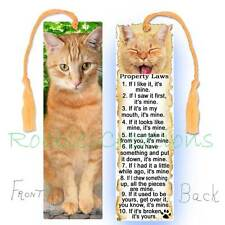 CAT ORANGE TABBY Large BOOKMARK TASSEL Ginger RULES Attitude Laws Art Book CARD