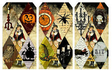 """""""HALLOWEEN WITCH"""" (34) SCRAPBOOK CARD EMBELLISHMENTS HANG/GIFT TAGS"""