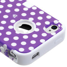 iPHONE 4 4G 4S - HARD&SOFT RUBBER DUAL LAYER IMPACT CASE PURPLE WHITE POLKA DOTS