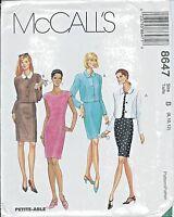 M 8647 sewing pattern DRESS extended shoulders JACKET princess seams sew 8,10,12