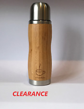 CLEARANCE DOUBLE WALL VACUUM FLASK BAMBOO STAINLESS STEEL Coffee & Tea,Travel