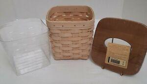 Longaberger Whitewashed Tall Tissue Basket/Plastic Protector/Woodcrafts Lid NIB