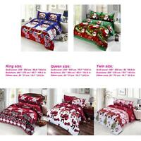 4pcs Cotton 3D Bedding Set Merry Christmas Cover Bed Sheet 2 Pillowcases Gifts