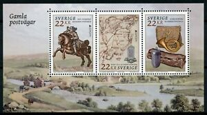 Sweden Europa Stamps 2020 MNH Ancient Postal Routes Services Horses 3v M/S