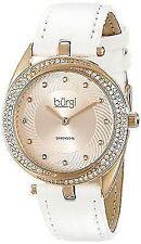 Burgi Women's 35mm White Calfskin Metal Case Mineral Glass Watch BUR122WTR