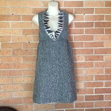 ANNA SUI Womens Sz 5 Small Gray White Wool Blend Feather Sequin Party Dress -E
