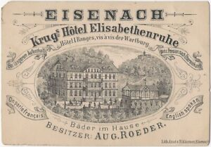 Krugs Hotel Eisenach Germany Victorian Card with Photo of Woman in Window