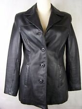 Wilsons Leather Coat Women's Black Leather 4 Button Jacket Size M