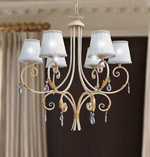 Lampadario sospensione classico 6 luci ferro battuto paralumi foglie cristalli