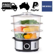 3 Tier Transparent Steamer Food Cooker Timer Dumpling Vegetable Home Kitchen 12L