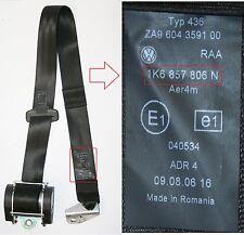 VW Golf Mk6 Seat Belt Drivers Side Rear Black Safety Belt O/S/R 1K6 857 806 N