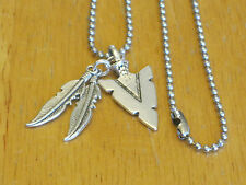 Southwestern/Western Arrowhead/Feather Silver-Tone Pendant Charm Necklace Men's+