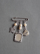 """Boutonniere Pin Bridegroom's Silver Oblong Charm """"mom"""" charm, butterfly Charm"""