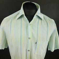 Hugo Boss De Hombre Camisa Medio de manga corta de algodón a rayas verde regular fit