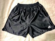 Mens Silky Nylon Satin Soccer Shorts Adidas Med Black Unlined