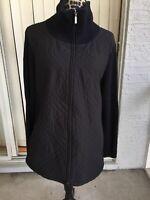 CROFT & BARROW Sweater Jacket Full Long Sleeve Front Zip Black Size 2X (I1932)