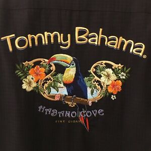 TOMMY BAHAMA Habana Cove Fine Cigars Camp Hawaiian Shirt Black Embroidery EUC M