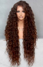 Long Full Lace Front Wig Spanish Waves Auburn Black  Heat OK WBSM T1B-30