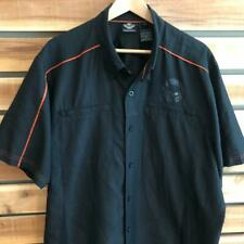 EUC Mens Black Harley-Davidson Motorcycles Polyester S/S Button Up Shirt 2XL