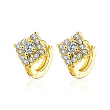 18 k Gold Plated Rhombus Zircons Women Girls Small Hoops First Earrings E1019